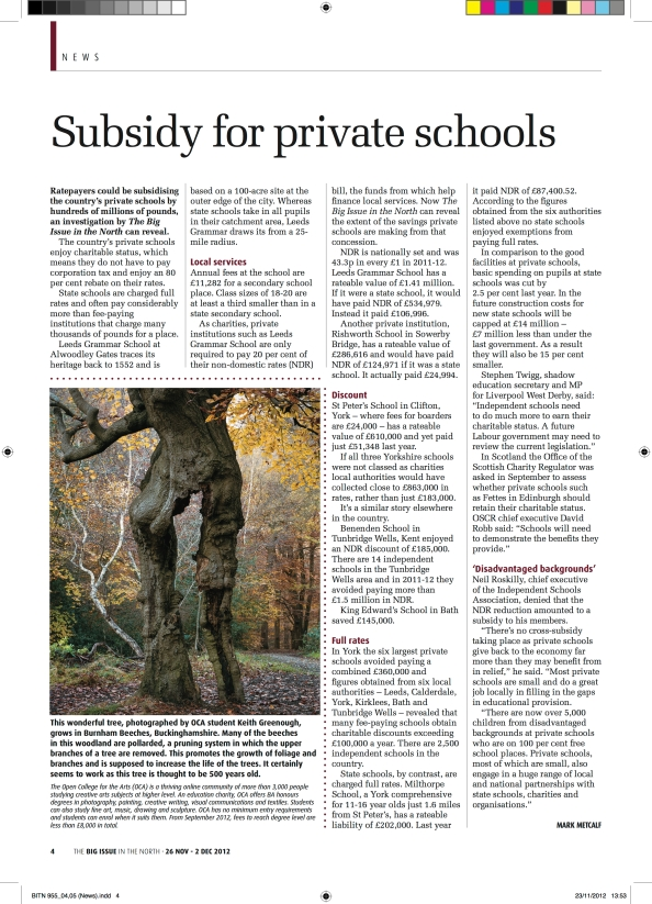 Old Beech Burnham Beeches by Keith Greenough in the Big Issue of the North