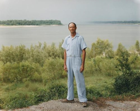 A man on the banks of the Mississippi, Baton Rouge, Louisiana August 1985