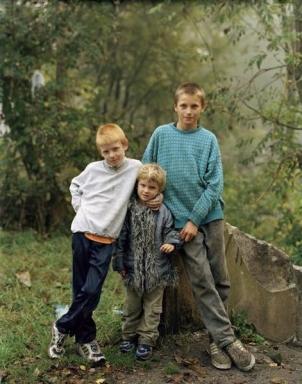 POLAND. 2004. Upper Silesia. Zabrze. L-R: 'Patryk', 'Natalia', 'Damian'.