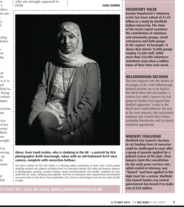 Abeer portrait published in Big Issue of the North