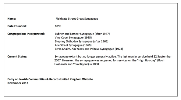Fieldgate Synagogue Text
