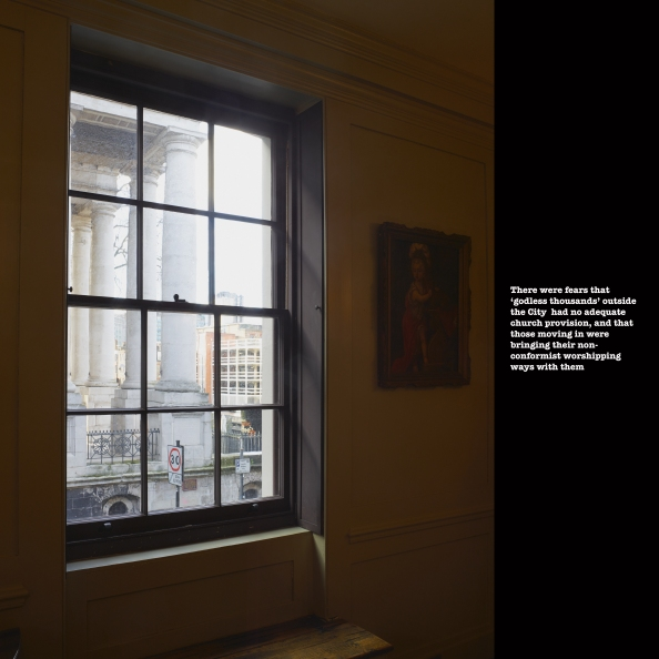 Christ's Church Spitalfields through window of house on Fournier Street, January 2014 ©Keith Greenough 2014