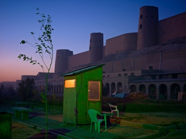 A security guard's booth at the newly restored Ikhtyaruddin citadel, Herat  Burke and Norfolk (copyright Simon Norfolk)