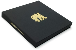 Black cloth with gold foil blocked text