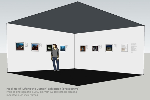 'Lifting the Curtain' installation maquette — 50x60 cm photographs with A4  text frames ©Keith Greenough 2014