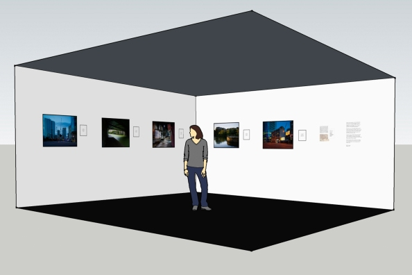 Lifting the Curtain - Exhibition Maquette (80x60 cm photographs with 10x8 inch framed texts)