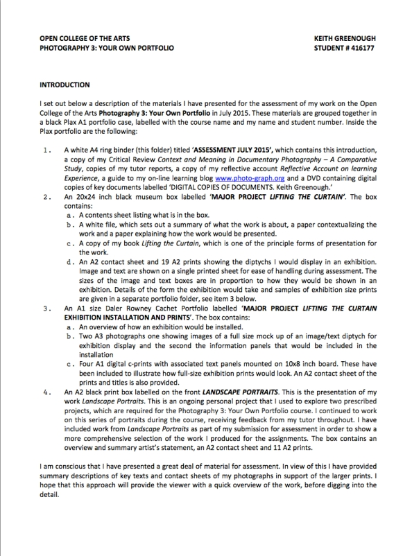 Contents of Assessment Submission July 2015