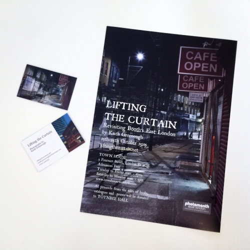 Posters and Business Cards for Lifting the Curtain Exhibition ©Keith Greenough 2105