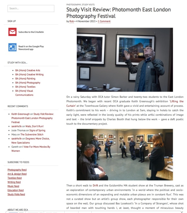 Report on OCA Study Group visit to East London Photography Festival